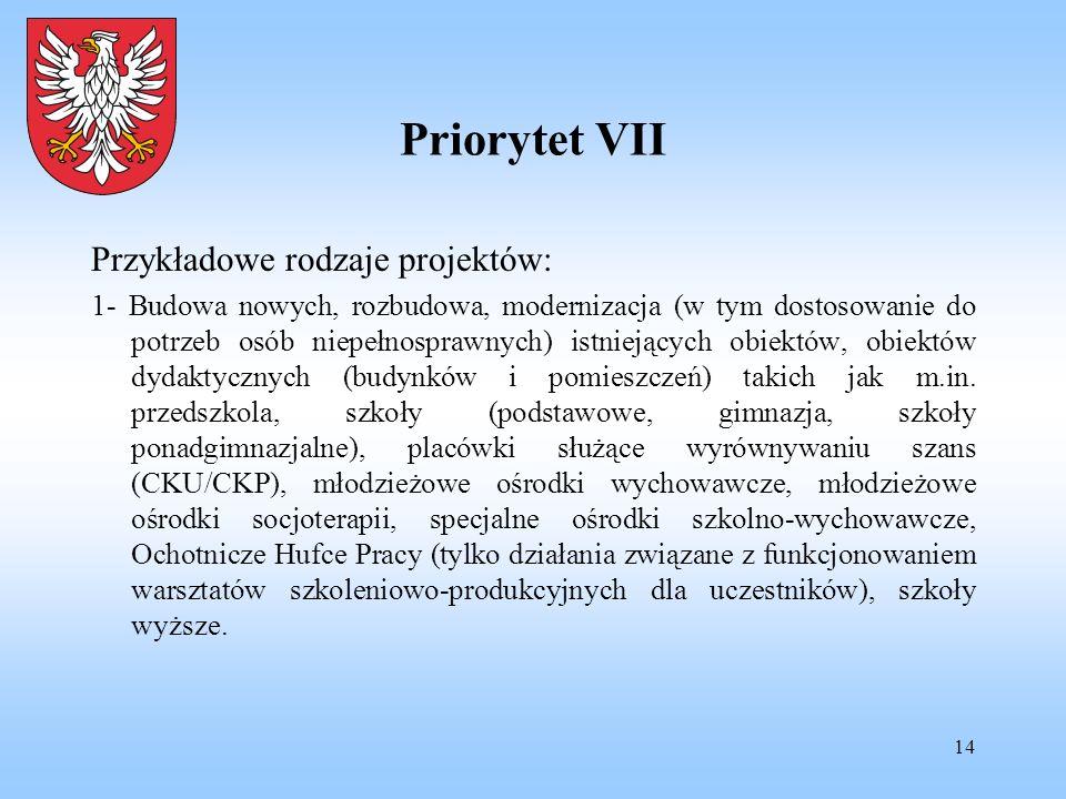 14 Priorytet VII Przykładowe rodzaje projektów: 1- Budowa nowych, rozbudowa, modernizacja (w tym dostosowanie do potrzeb osób niepełnosprawnych) istni