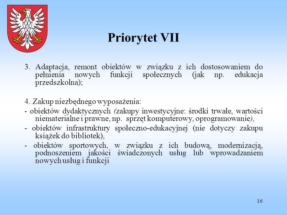 16 Priorytet VII 3. Adaptacja, remont obiektów w związku z ich dostosowaniem do pełnienia nowych funkcji społecznych (jak np. edukacja przedszkolna);