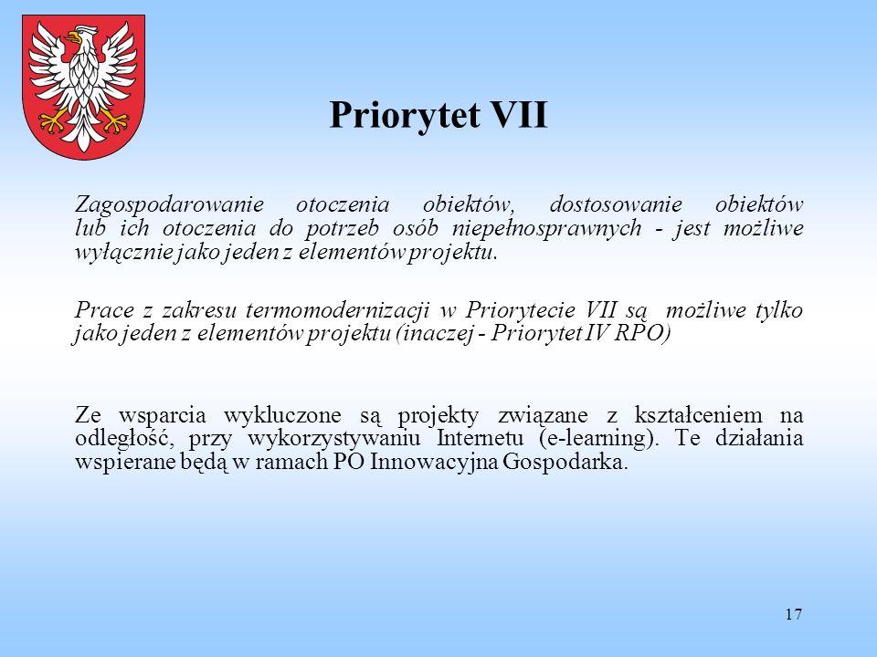 17 Priorytet VII Zagospodarowanie otoczenia obiektów, dostosowanie obiektów lub ich otoczenia do potrzeb osób niepełnosprawnych - jest możliwe wyłączn