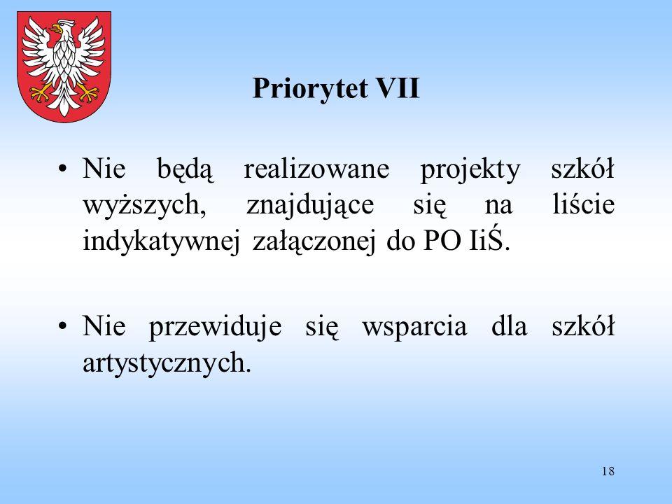 18 Priorytet VII Nie będą realizowane projekty szkół wyższych, znajdujące się na liście indykatywnej załączonej do PO IiŚ. Nie przewiduje się wsparcia