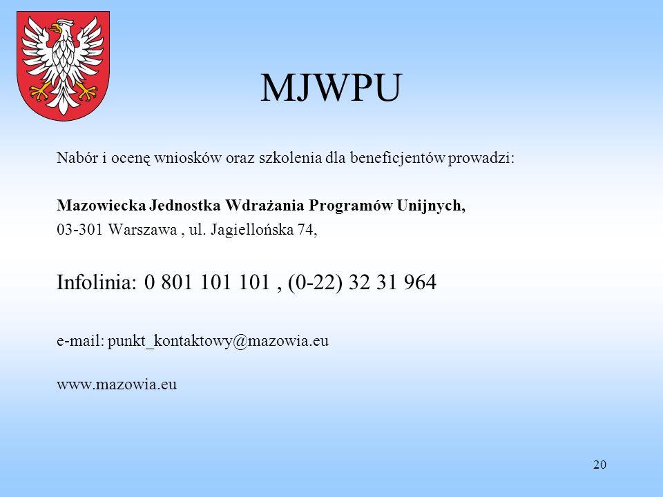 20 MJWPU Nabór i ocenę wniosków oraz szkolenia dla beneficjentów prowadzi: Mazowiecka Jednostka Wdrażania Programów Unijnych, 03-301 Warszawa, ul. Jag