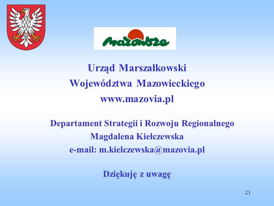 21 Urząd Marszałkowski Województwa Mazowieckiego www.mazovia.pl Departament Strategii i Rozwoju Regionalnego Magdalena Kiełczewska e-mail: m.kielczews