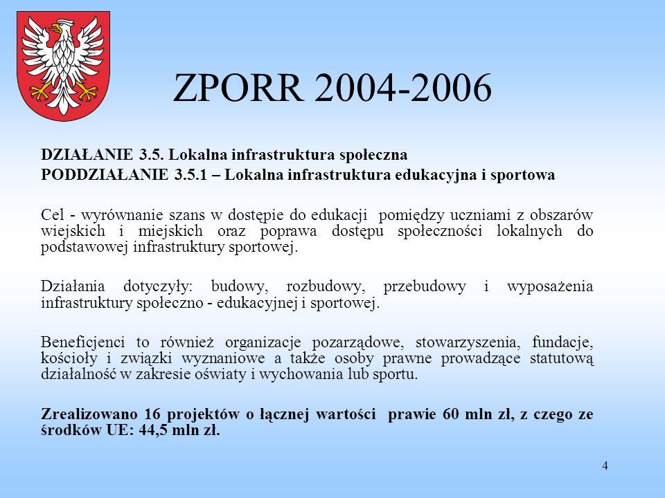 4 ZPORR 2004-2006 DZIAŁANIE 3.5. Lokalna infrastruktura społeczna PODDZIAŁANIE 3.5.1 – Lokalna infrastruktura edukacyjna i sportowa Cel - wyrównanie s