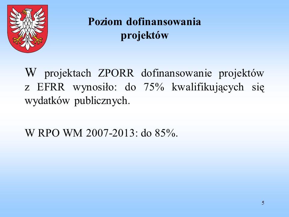 5 Poziom dofinansowania projektów W projektach ZPORR dofinansowanie projektów z EFRR wynosiło: do 75% kwalifikujących się wydatków publicznych. W RPO