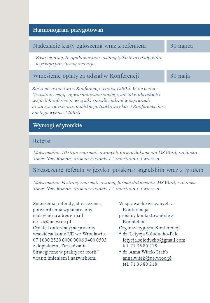 Harmonogram przygotowań Nadesłanie karty zgłoszenia wraz z referatem30 marca Wniesienie opłaty za udział w Konferencji30 maja Zastrzega się, że opubli