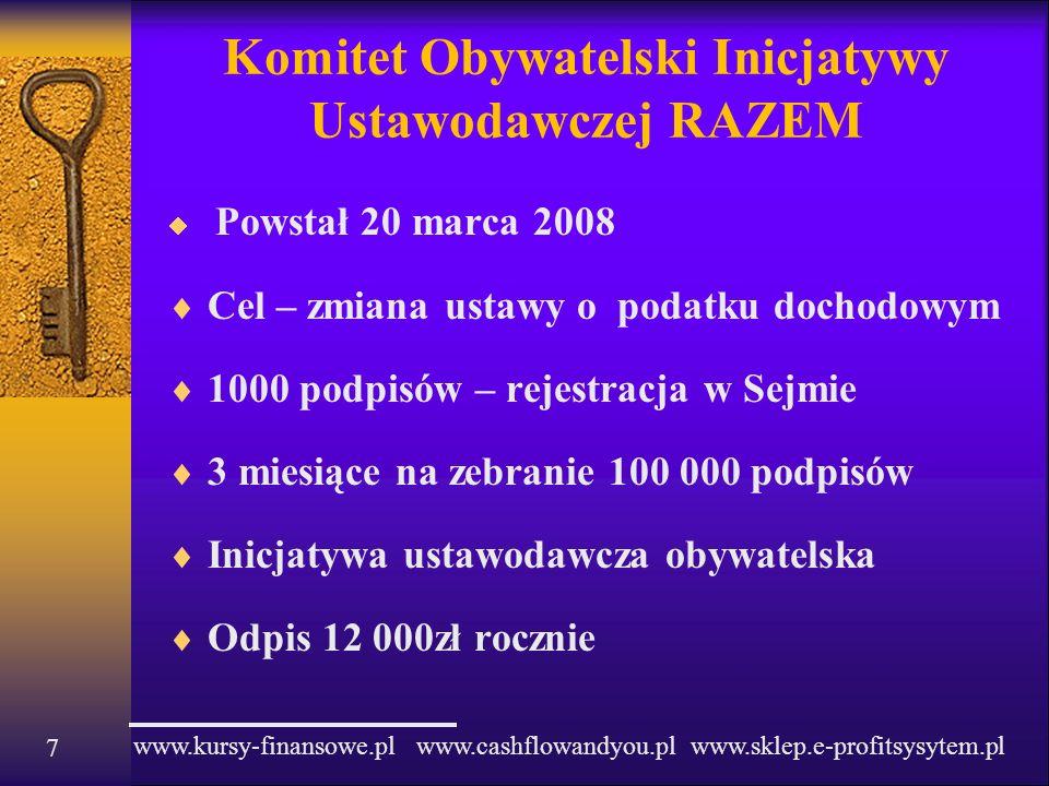 www.kursy-finansowe.pl www.cashflowandyou.pl www.sklep.e-profitsysytem.pl 7 Komitet Obywatelski Inicjatywy Ustawodawczej RAZEM Powstał 20 marca 2008 C