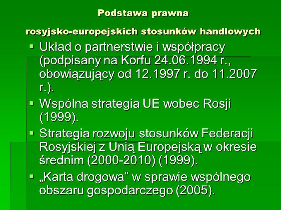 Podstawa prawna rosyjsko-europejskich stosunków handlowych Układ o partnerstwie i współpracy (podpisany na Korfu 24.06.1994 r., obowiązujący od 12.199
