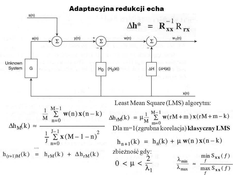 Wybór adaptacyjnego wzmocnienia Sygn.lokalny nieusuwalne echo (N) reszta od nieidealnych wsp.