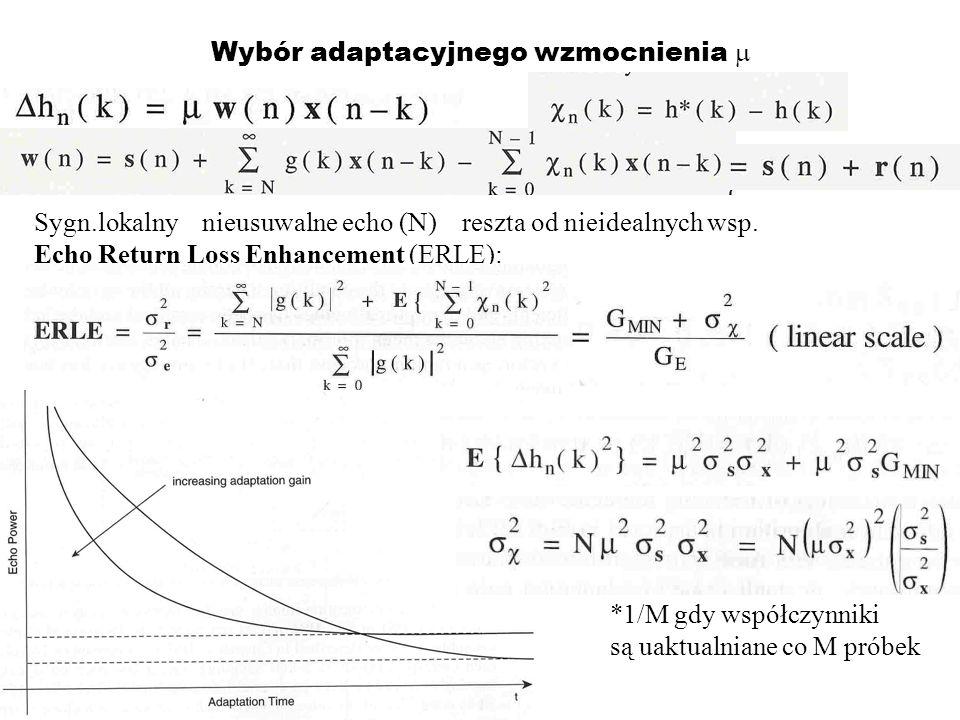 Wybór adaptacyjnego wzmocnienia Sygn.lokalny nieusuwalne echo (N) reszta od nieidealnych wsp. Echo Return Loss Enhancement (ERLE): *1/M gdy współczynn