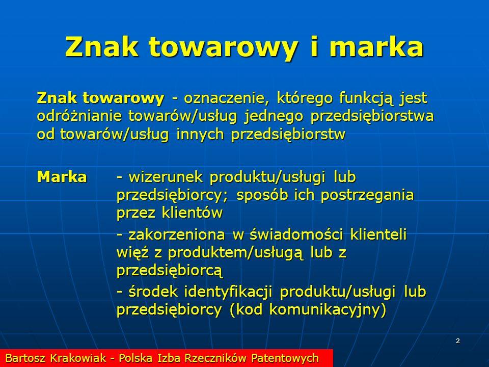 2 Znak towarowy i marka Znak towarowy - oznaczenie, którego funkcją jest odróżnianie towarów/usług jednego przedsiębiorstwa od towarów/usług innych pr
