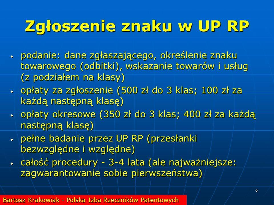 6 Zgłoszenie znaku w UP RP podanie: dane zgłaszającego, określenie znaku towarowego (odbitki), wskazanie towarów i usług (z podziałem na klasy) podani
