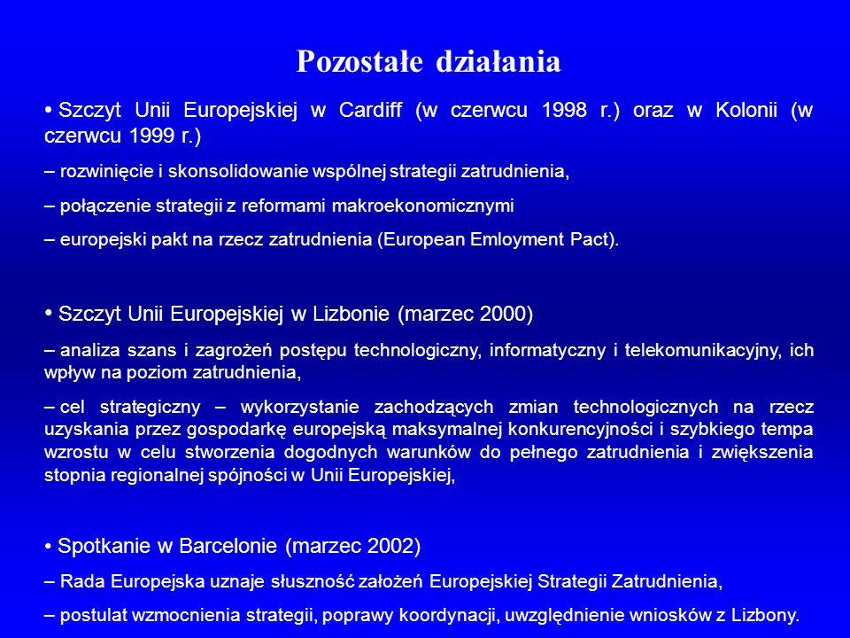 Pozostałe działania Szczyt Unii Europejskiej w Cardiff (w czerwcu 1998 r.) oraz w Kolonii (w czerwcu 1999 r.) – rozwinięcie i skonsolidowanie wspólnej