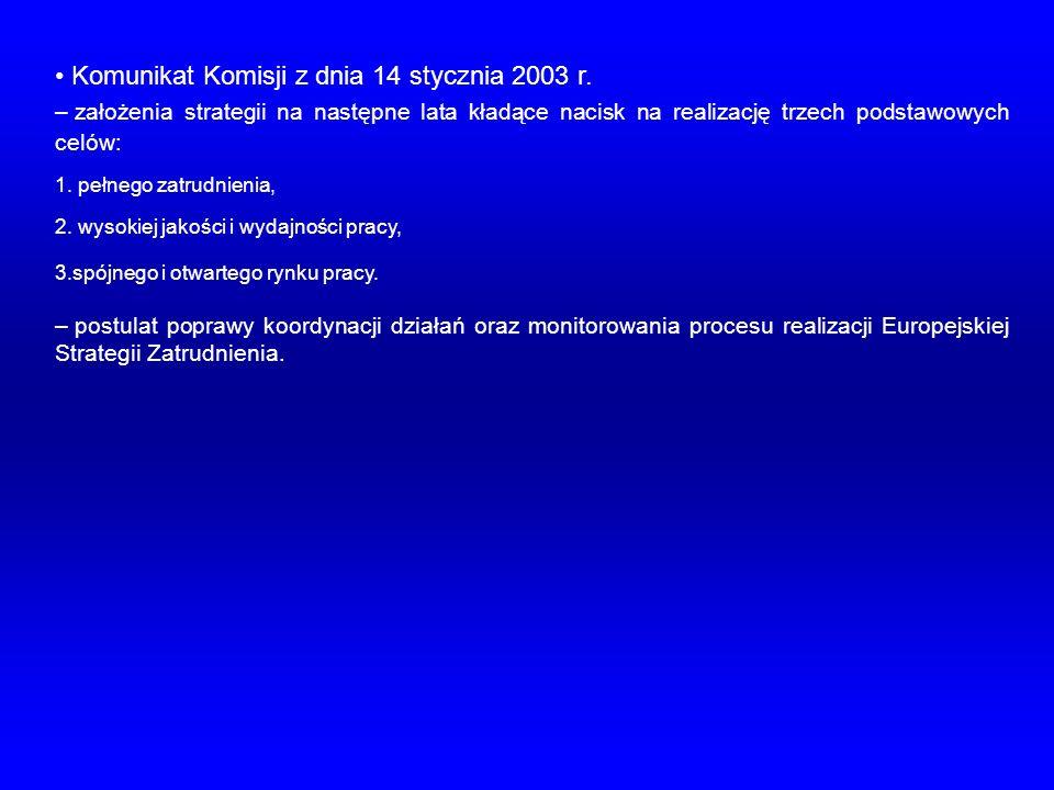 Komunikat Komisji z dnia 14 stycznia 2003 r. – założenia strategii na następne lata kładące nacisk na realizację trzech podstawowych celów: 1. pełnego