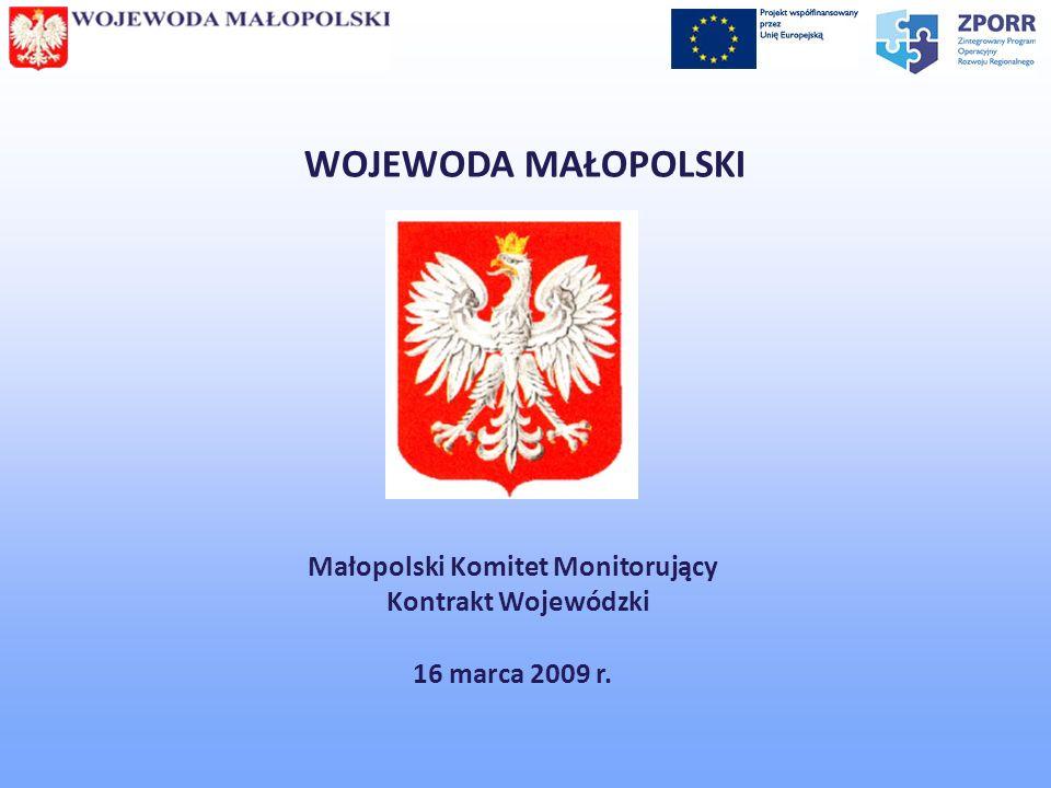 WOJEWODA MAŁOPOLSKI Małopolski Komitet Monitorujący Kontrakt Wojewódzki 16 marca 2009 r.