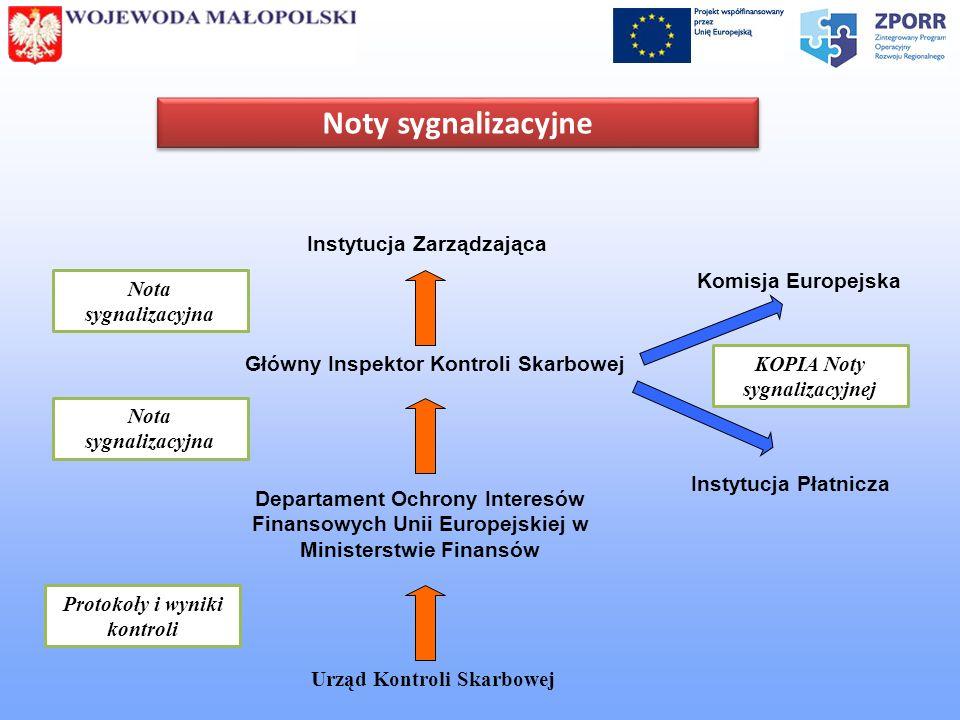 Noty sygnalizacyjne Urząd Kontroli Skarbowej Protokoły i wyniki kontroli Departament Ochrony Interesów Finansowych Unii Europejskiej w Ministerstwie F