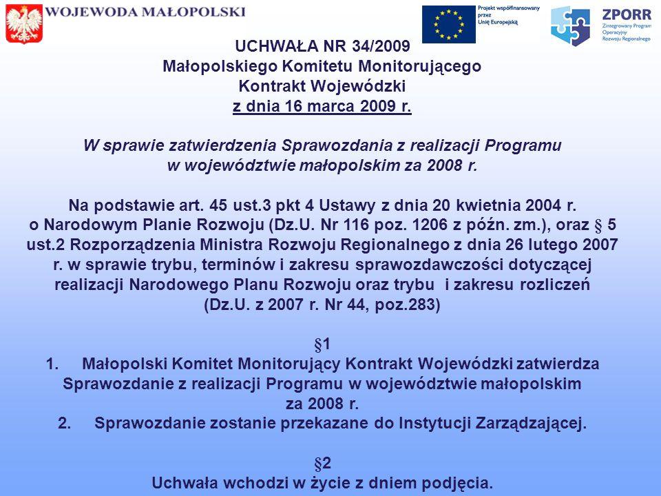 UCHWAŁA NR 34/2009 Małopolskiego Komitetu Monitorującego Kontrakt Wojewódzki z dnia 16 marca 2009 r. W sprawie zatwierdzenia Sprawozdania z realizacji