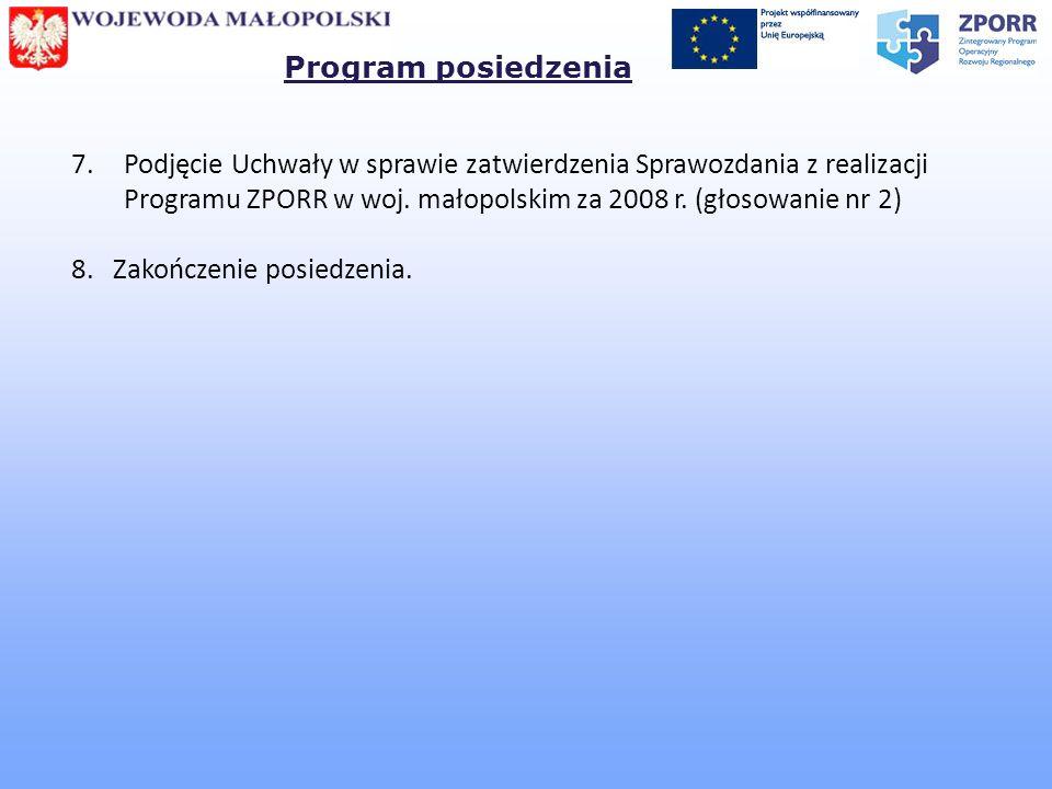 7.Podjęcie Uchwały w sprawie zatwierdzenia Sprawozdania z realizacji Programu ZPORR w woj. małopolskim za 2008 r. (głosowanie nr 2) 8. Zakończenie pos