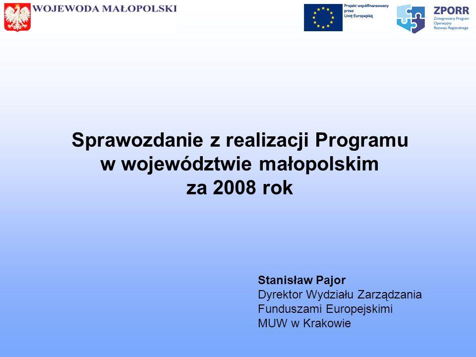 Sprawozdanie z realizacji Programu w województwie małopolskim za 2008 rok Stanisław Pajor Dyrektor Wydziału Zarządzania Funduszami Europejskimi MUW w