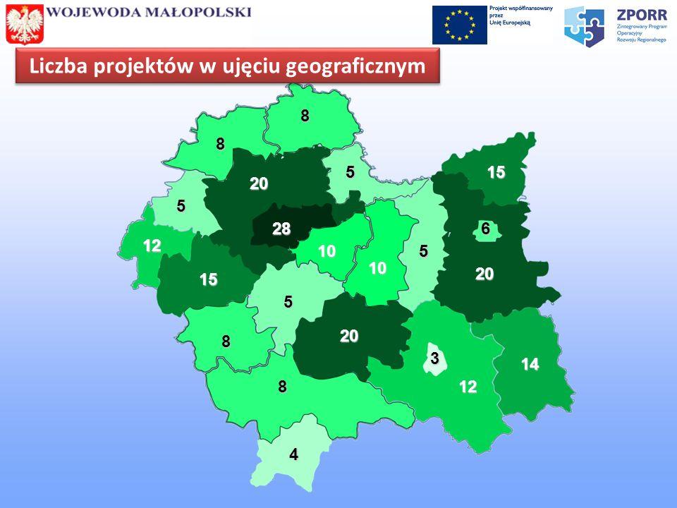 Liczba projektów w ujęciu geograficznym 28 20 20 15 20 15 12 14 1212 10 10 6 8 8 8 8 4 5 55 55 5 3