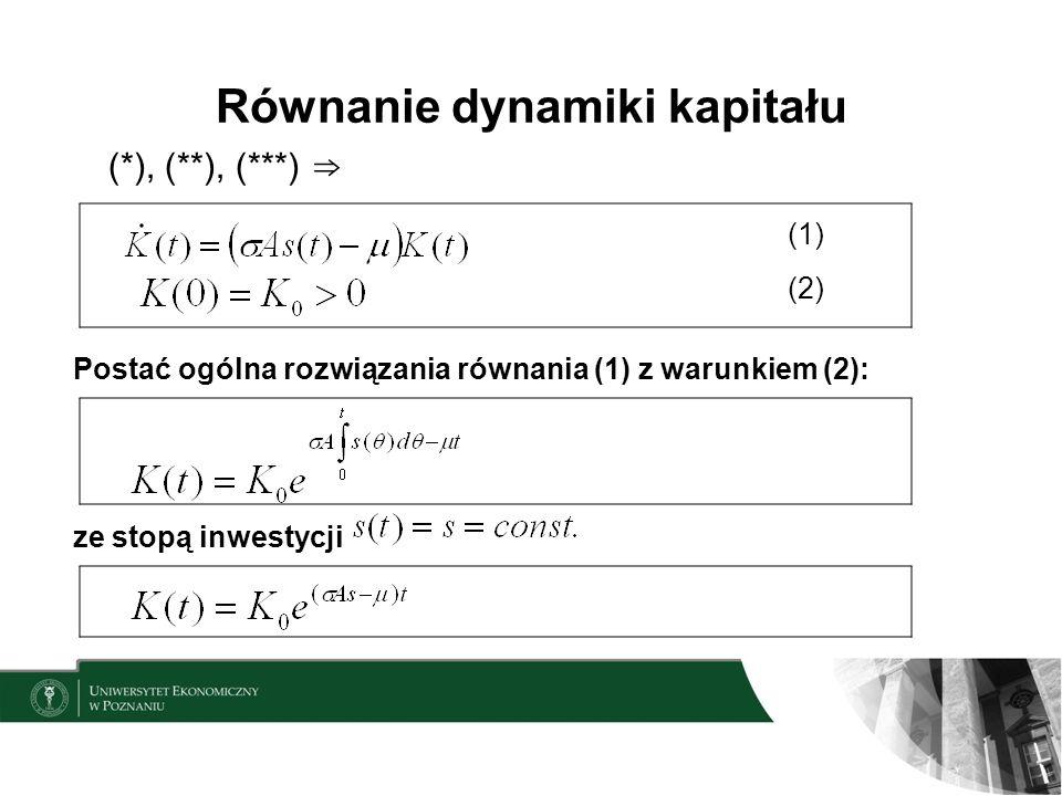 Równanie dynamiki kapitału (*), (**), (***) (1) (2) Postać ogólna rozwiązania równania (1) z warunkiem (2): ze stopą inwestycji