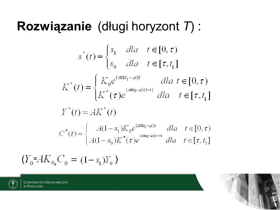 Rozwiązanie (długi horyzont T) : =, ()