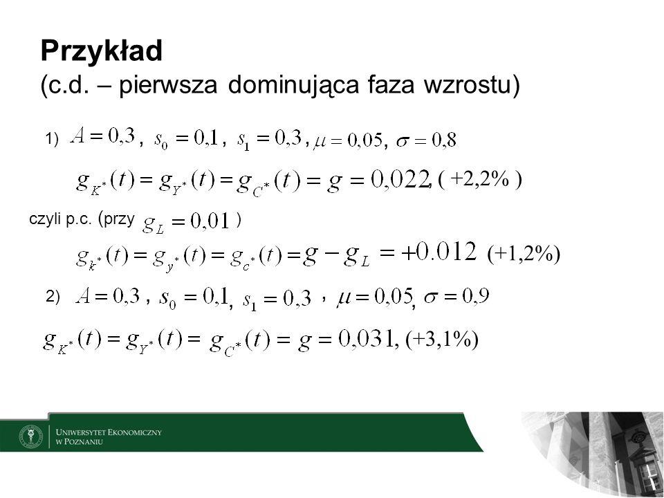 Przykład (c.d. – pierwsza dominująca faza wzrostu) 1),,,,, ( +2,2% ) czyli p.c. ( przy ) (+1,2%) 2),,,,, (+3,1%)