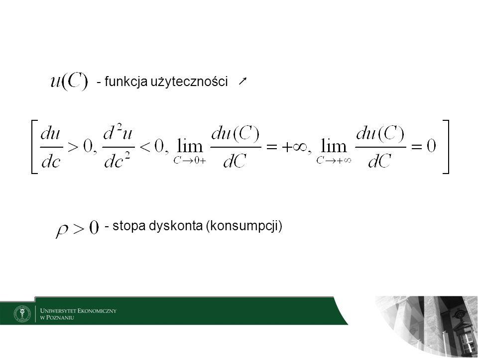 - funkcja użyteczności - stopa dyskonta (konsumpcji)