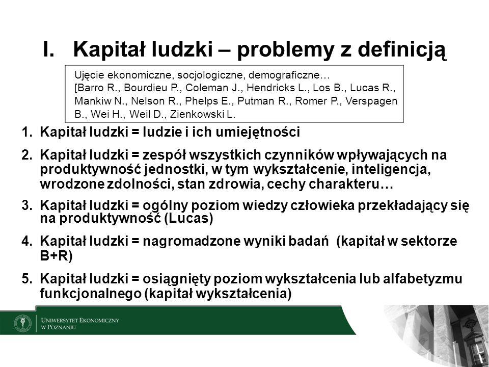 I. Kapitał ludzki – problemy z definicją Ujęcie ekonomiczne, socjologiczne, demograficzne… [Barro R., Bourdieu P., Coleman J., Hendricks L., Los B., L