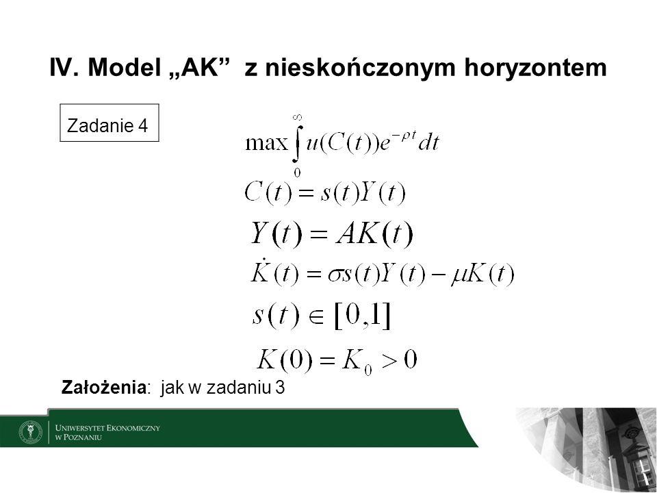 IV. Model AK z nieskończonym horyzontem Zadanie 4 Założenia: jak w zadaniu 3