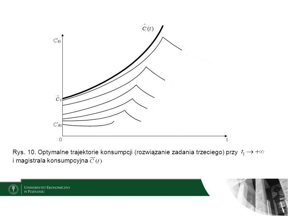 Rys. 10. Optymalne trajektorie konsumpcji (rozwiązanie zadania trzeciego) przy i magistrala konsumpcyjna
