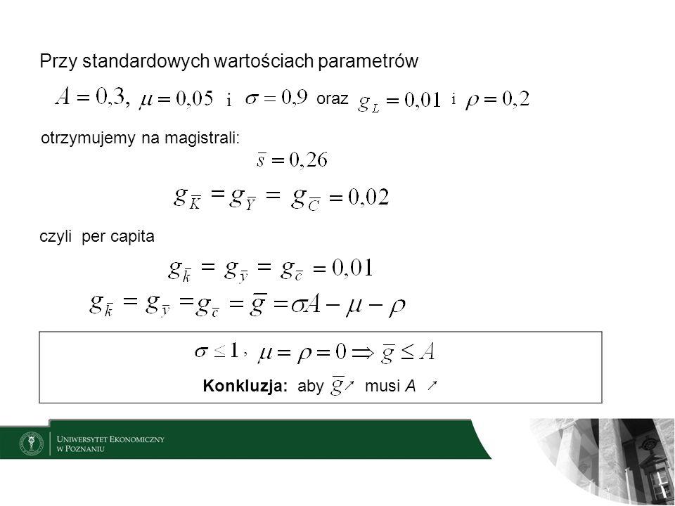 Przy standardowych wartościach parametrów oraz i, i otrzymujemy na magistrali: czyli per capita Konkluzja: aby musi A,