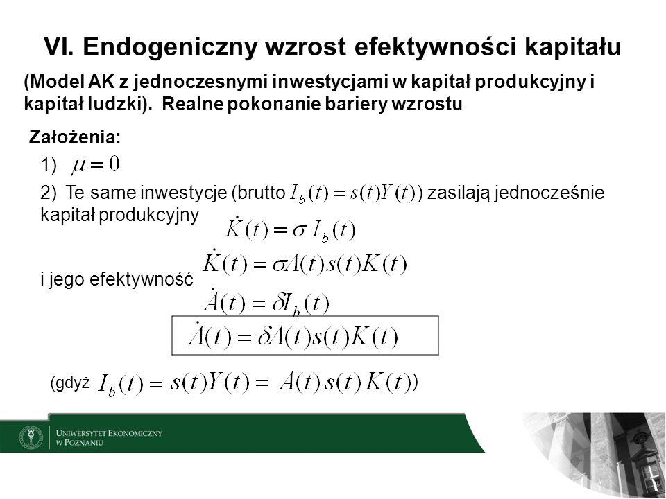 VI. Endogeniczny wzrost efektywności kapitału (Model AK z jednoczesnymi inwestycjami w kapitał produkcyjny i kapitał ludzki). Realne pokonanie bariery