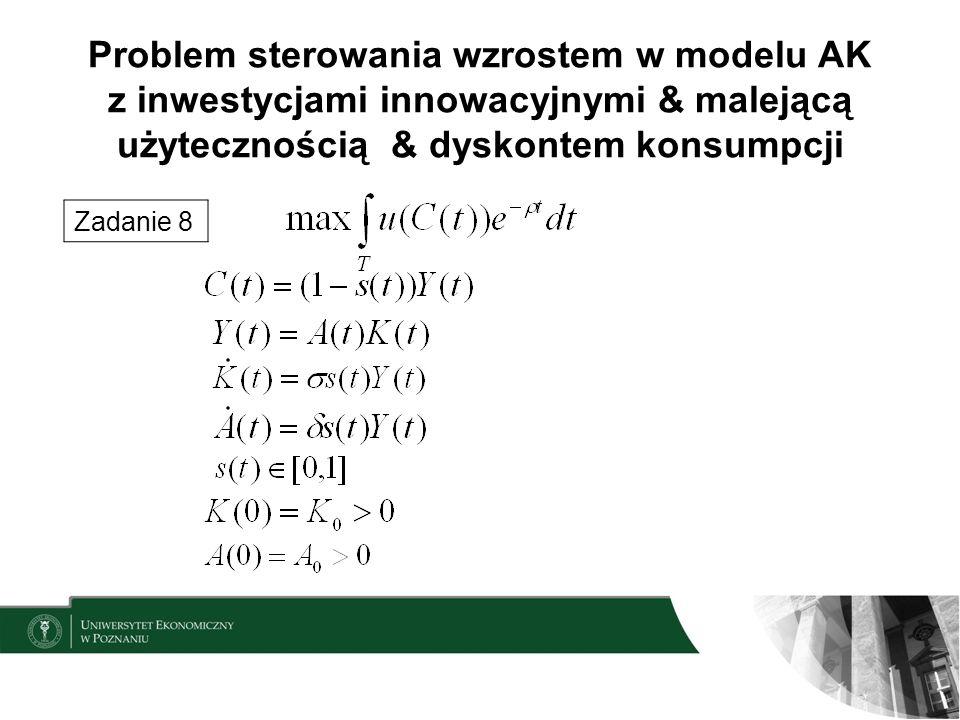 Problem sterowania wzrostem w modelu AK z inwestycjami innowacyjnymi & malejącą użytecznością & dyskontem konsumpcji Zadanie 8