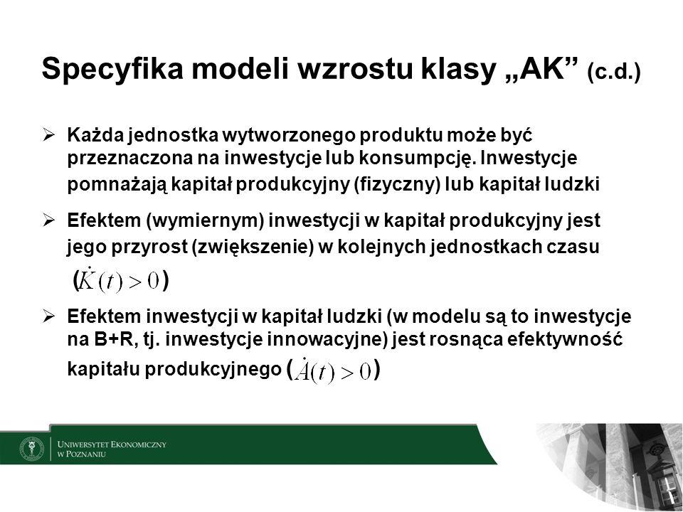 Specyfika modeli wzrostu klasy AK (c.d.) Każda jednostka wytworzonego produktu może być przeznaczona na inwestycje lub konsumpcję. Inwestycje pomnażaj