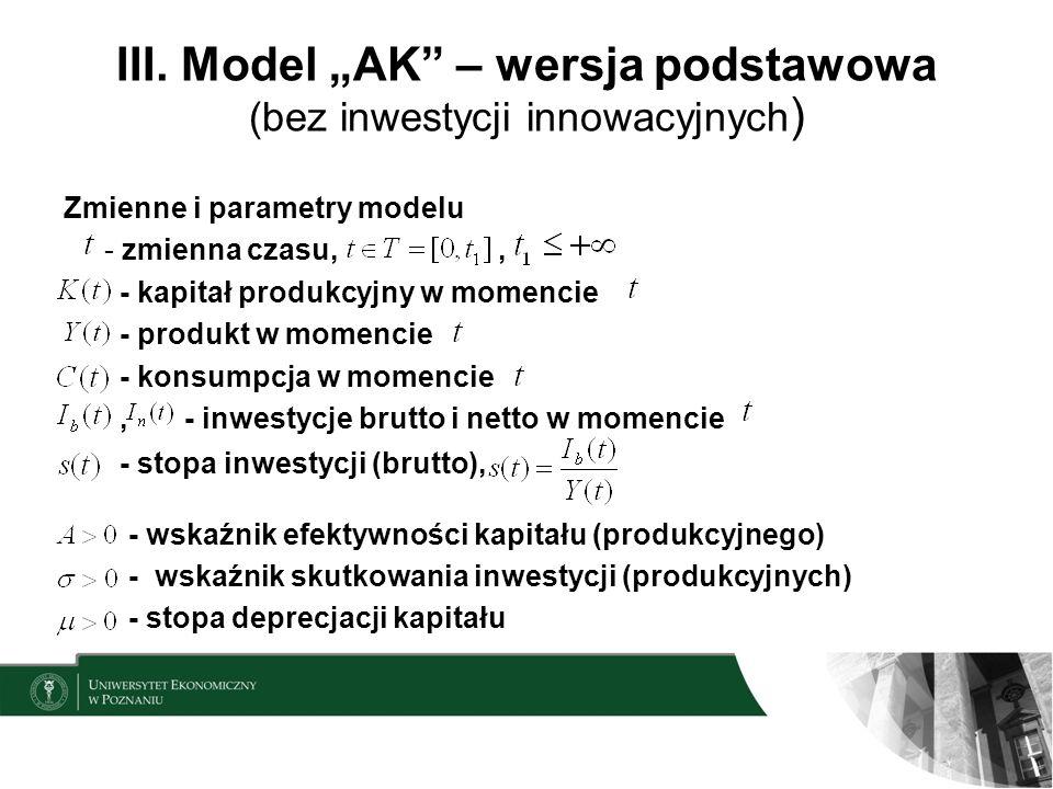 III. Model AK – wersja podstawowa (bez inwestycji innowacyjnych ) Zmienne i parametry modelu - zmienna czasu,, - kapitał produkcyjny w momencie - prod