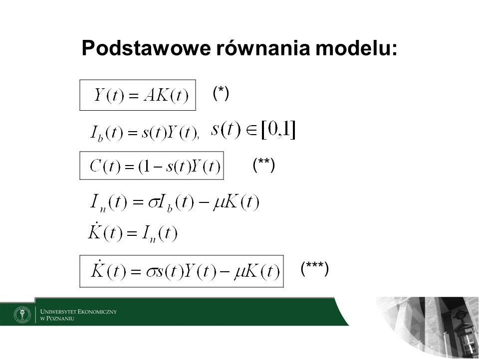 Podstawowe równania modelu: (*), (**) (***)