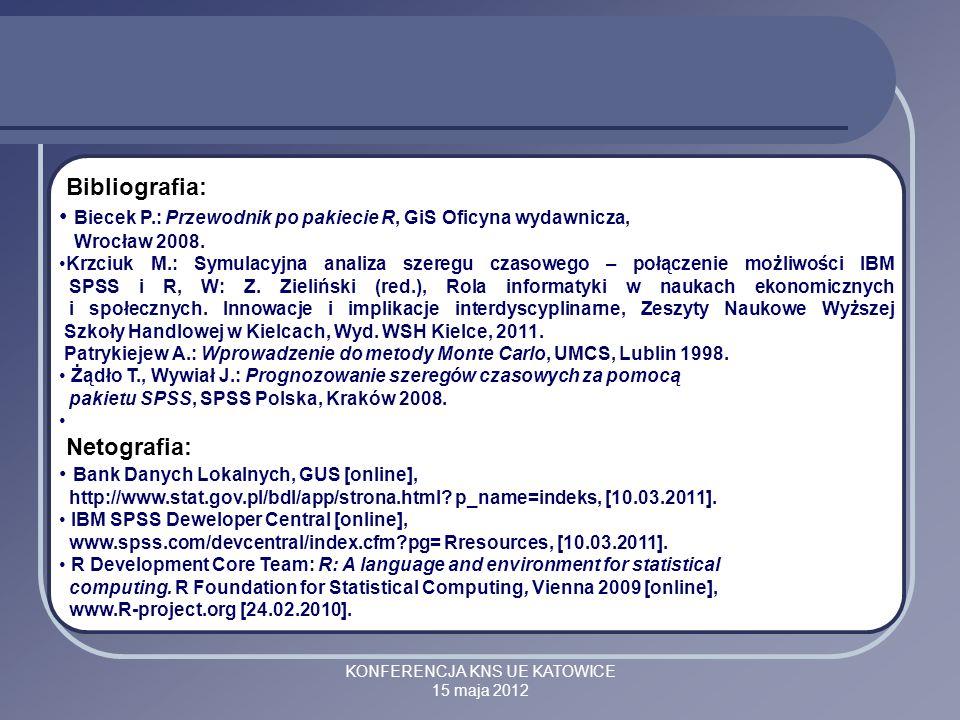 KONFERENCJA KNS UE KATOWICE 15 maja 2012 Bibliografia: Biecek P.: Przewodnik po pakiecie R, GiS Oficyna wydawnicza, Wrocław 2008. Krzciuk M.: Symulacy