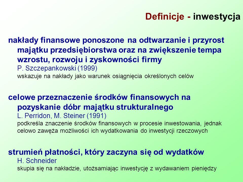 Definicje - inwestycja nakłady finansowe ponoszone na odtwarzanie i przyrost majątku przedsiębiorstwa oraz na zwiększenie tempa wzrostu, rozwoju i zys