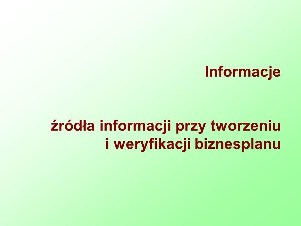 Informacje źródła informacji przy tworzeniu i weryfikacji biznesplanu