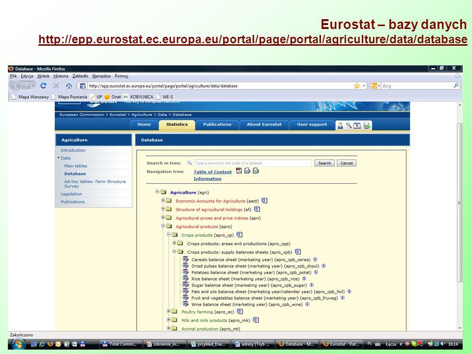Eurostat – bazy danych http://epp.eurostat.ec.europa.eu/portal/page/portal/agriculture/data/database