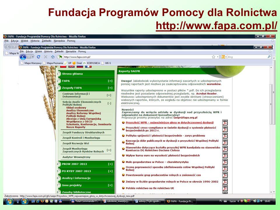 Fundacja Programów Pomocy dla Rolnictwa http://www.fapa.com.pl/