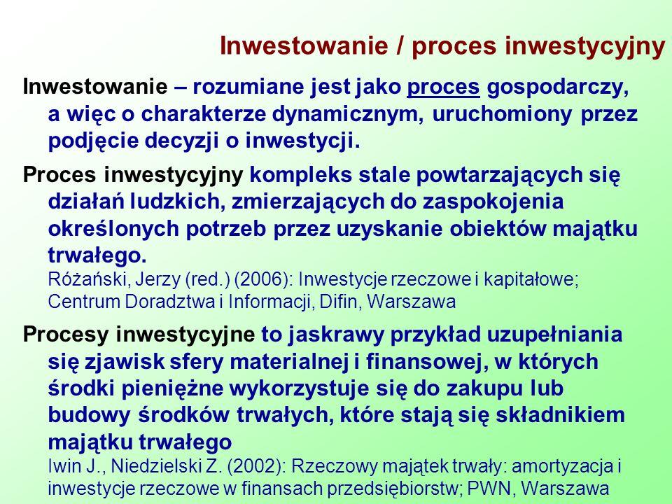 Inwestowanie / proces inwestycyjny Inwestowanie – rozumiane jest jako proces gospodarczy, a więc o charakterze dynamicznym, uruchomiony przez podjęcie decyzji o inwestycji.