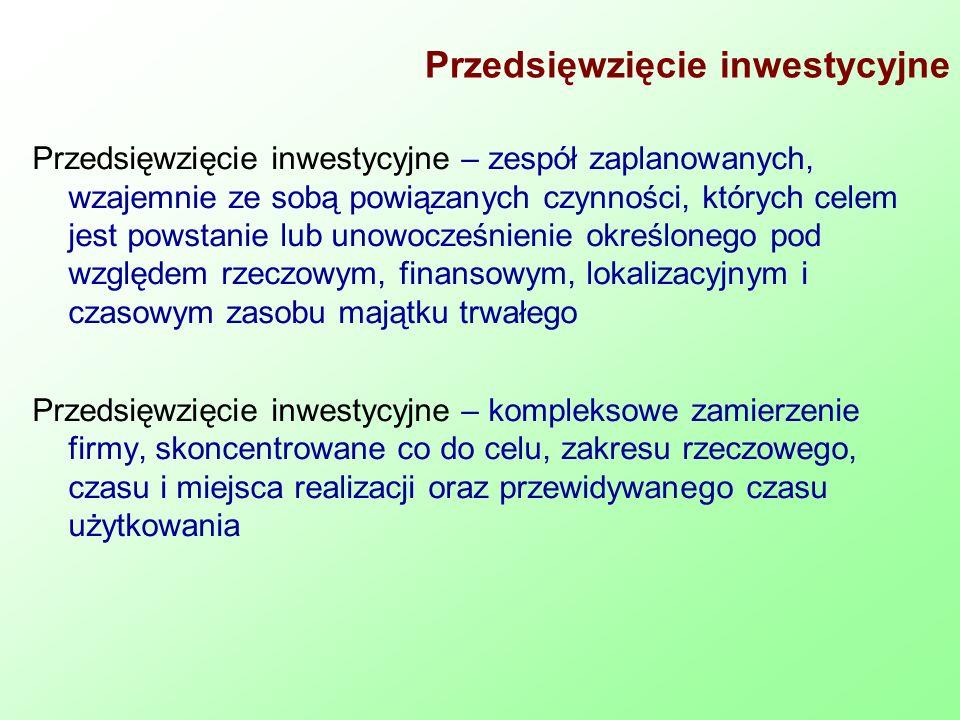 Przedsięwzięcie inwestycyjne Przedsięwzięcie inwestycyjne – zespół zaplanowanych, wzajemnie ze sobą powiązanych czynności, których celem jest powstani