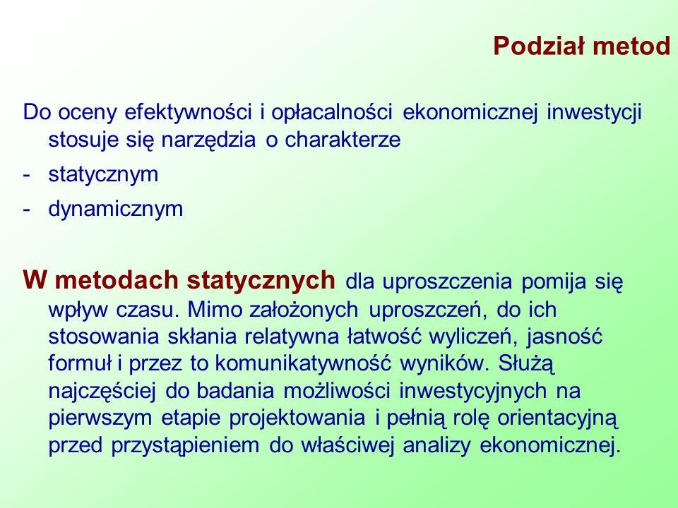 Podział metod Do oceny efektywności i opłacalności ekonomicznej inwestycji stosuje się narzędzia o charakterze -statycznym -dynamicznym W metodach sta