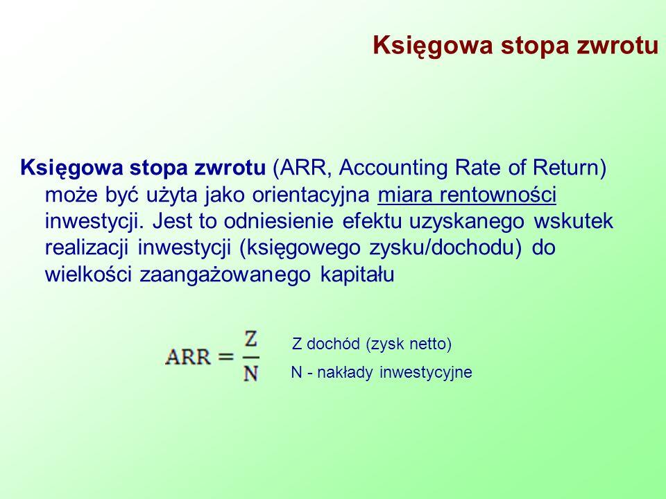Księgowa stopa zwrotu Księgowa stopa zwrotu (ARR, Accounting Rate of Return) może być użyta jako orientacyjna miara rentowności inwestycji. Jest to od
