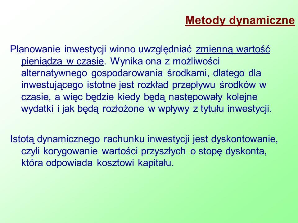 Metody dynamiczne Planowanie inwestycji winno uwzględniać zmienną wartość pieniądza w czasie. Wynika ona z możliwości alternatywnego gospodarowania śr