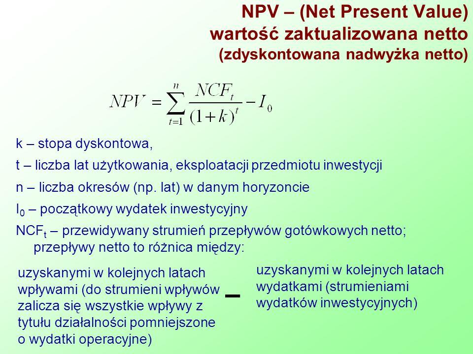 NPV – (Net Present Value) wartość zaktualizowana netto (zdyskontowana nadwyżka netto) k – stopa dyskontowa, t – liczba lat użytkowania, eksploatacji przedmiotu inwestycji n – liczba okresów (np.