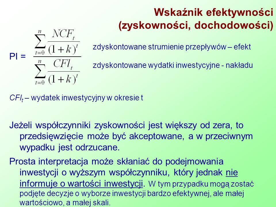 Wskaźnik efektywności (zyskowności, dochodowości) PI = CFl t – wydatek inwestycyjny w okresie t Jeżeli współczynniki zyskowności jest większy od zera,