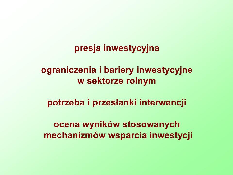 presja inwestycyjna ograniczenia i bariery inwestycyjne w sektorze rolnym potrzeba i przesłanki interwencji ocena wyników stosowanych mechanizmów wsparcia inwestycji