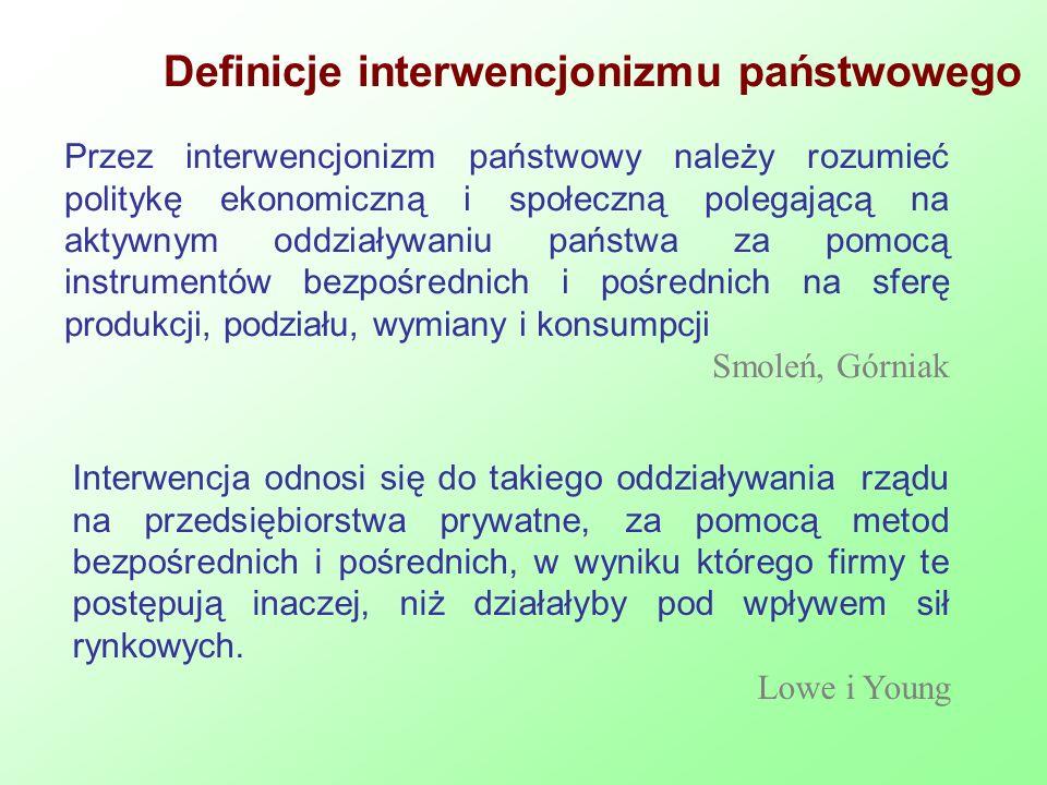Definicje interwencjonizmu państwowego Przez interwencjonizm państwowy należy rozumieć politykę ekonomiczną i społeczną polegającą na aktywnym oddział